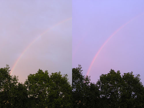 Comparison between two rainbows at 20 minutes apart.
