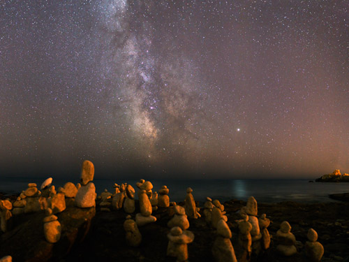 Stone characters under the Milky Way