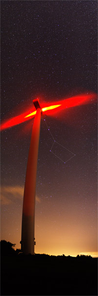 Ursa Major behind the wind turbine