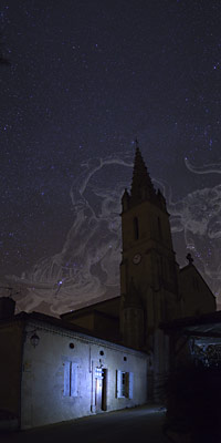 Orion and Taurus above a church